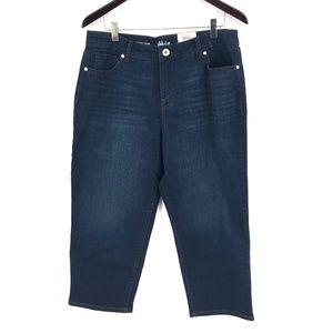 NEW Style & Co Curvy Capri cropped Jeans high rise dark wash Blue 12 women's